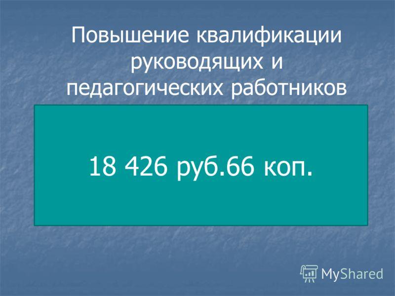 Повышение квалификации руководящих и педагогических работников 18 426 руб.66 коп.