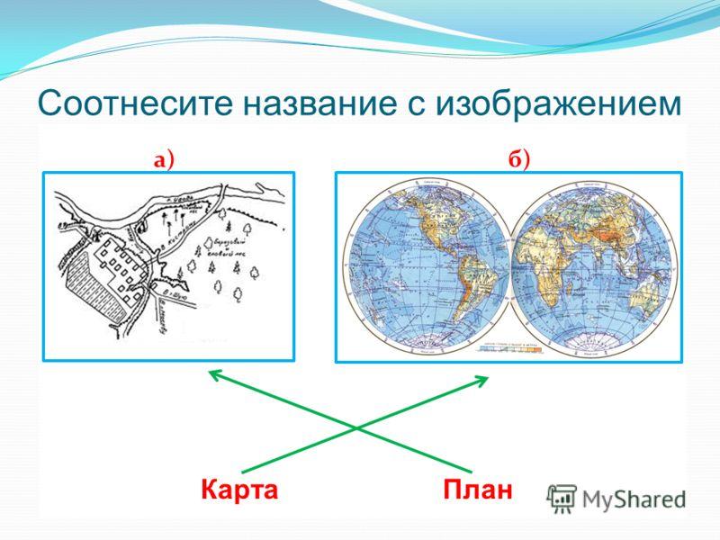 Соотнесите название с изображением Карта План а)б)