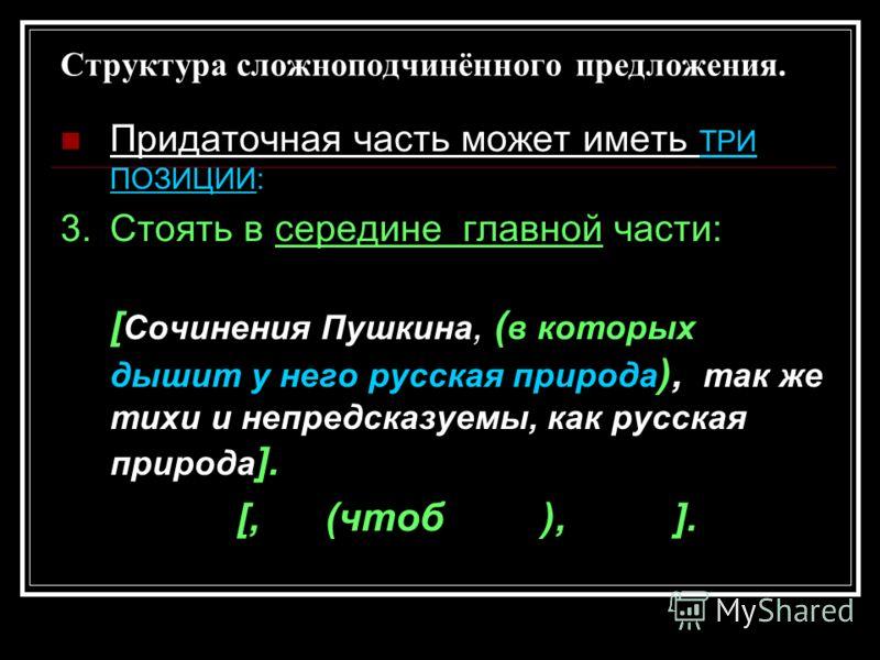 Структура сложноподчинённого предложения. Придаточная часть может иметь ТРИ ПОЗИЦИИ: 3.Стоять в середине главной части: [ Сочинения Пушкина, ( в которых дышит у него русская природа ), так же тихи и непредсказуемы, как русская природа ]. [, (чтоб ),