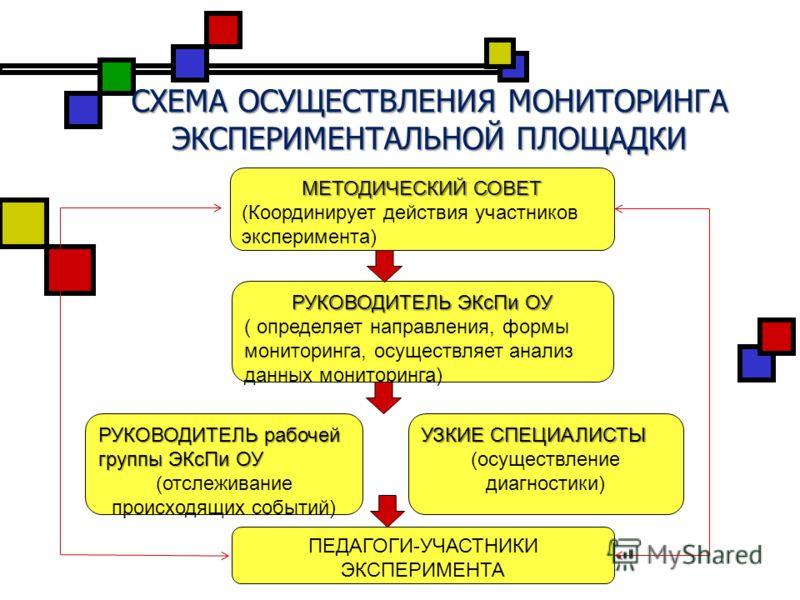 СХЕМА ОСУЩЕСТВЛЕНИЯ МОНИТОРИНГА ЭКСПЕРИМЕНТАЛЬНОЙ ПЛОЩАДКИ МЕТОДИЧЕСКИЙ СОВЕТ (Координирует действия участников эксперимента) РУКОВОДИТЕЛЬ ЭКсПи ОУ ( определяет направления, формы мониторинга, осуществляет анализ данных мониторинга) РУКОВОДИТЕЛЬ рабо