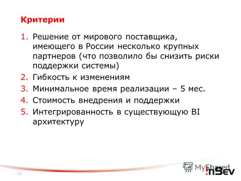 10 Критерии 1. Решение от мирового поставщика, имеющего в России несколько крупных партнеров (что позволило бы снизить риски поддержки системы) 2. Гибкость к изменениям 3. Минимальное время реализации – 5 мес. 4. Стоимость внедрения и поддержки 5. Ин