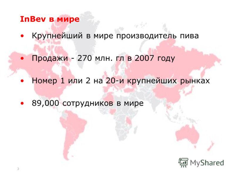 3 InBev в мире Крупнейший в мире производитель пива Продажи - 270 млн. гл в 2007 году Номер 1 или 2 на 20-и крупнейших рынках 89,000 сотрудников в мире