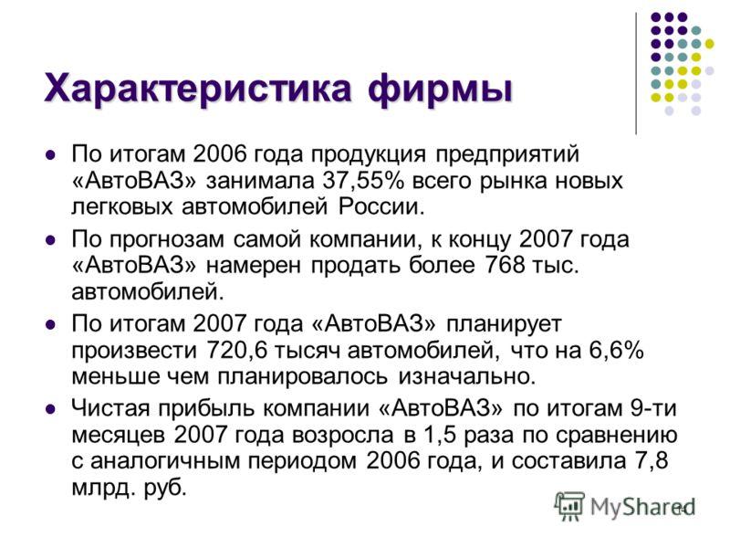 14 Характеристика фирмы По итогам 2006 года продукция предприятий «АвтоВАЗ» занимала 37,55% всего рынка новых легковых автомобилей России. По прогнозам самой компании, к концу 2007 года «АвтоВАЗ» намерен продать более 768 тыс. автомобилей. По итогам