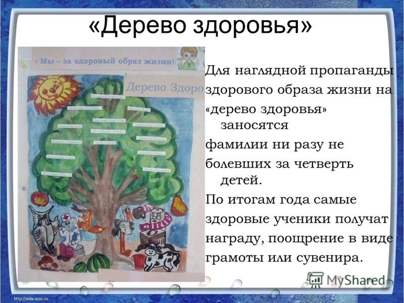 «Дерево здоровья» Для наглядной пропаганды здорового образа жизни на «дерево здоровья» заносятся фамилии ни разу не болевших за четверть детей. По итогам года самые здоровые ученики получат награду, поощрение в виде грамоты или сувенира.