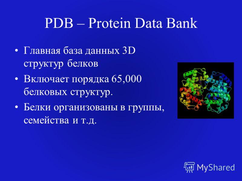 PDB – Protein Data Bank Главная база данных 3D структур белков Включает порядка 65,000 белковых структур. Белки организованы в группы, семейства и т.д.