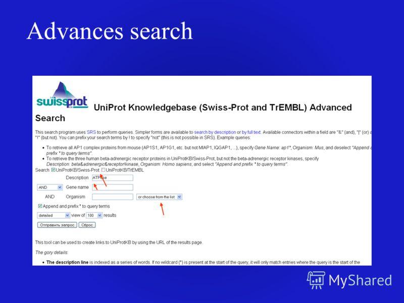 Advances search