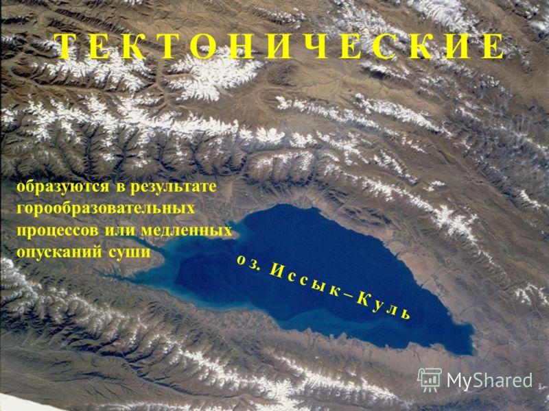 ТИПЫ ОЗЕРНЫХ КОТЛОВИН Озерная котловина – углубление, в котором находится озеро оз. Байкал тектонические вулканические ледниково-тектонические ледниковые запрудные термокарстовые остаточные озера - старицыозера - старицы лиманы искусственные ВИДЫ ОЗЕ