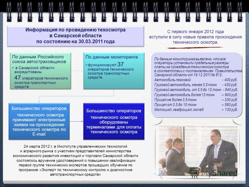 С первого января 2012 года вступили в силу новые правила прохождения технического осмотра. 24 марта 2012 г. в Институте управленческих технологий и аграрного рынка с участием представителей министерства экономического развития инвестиций и торговли С