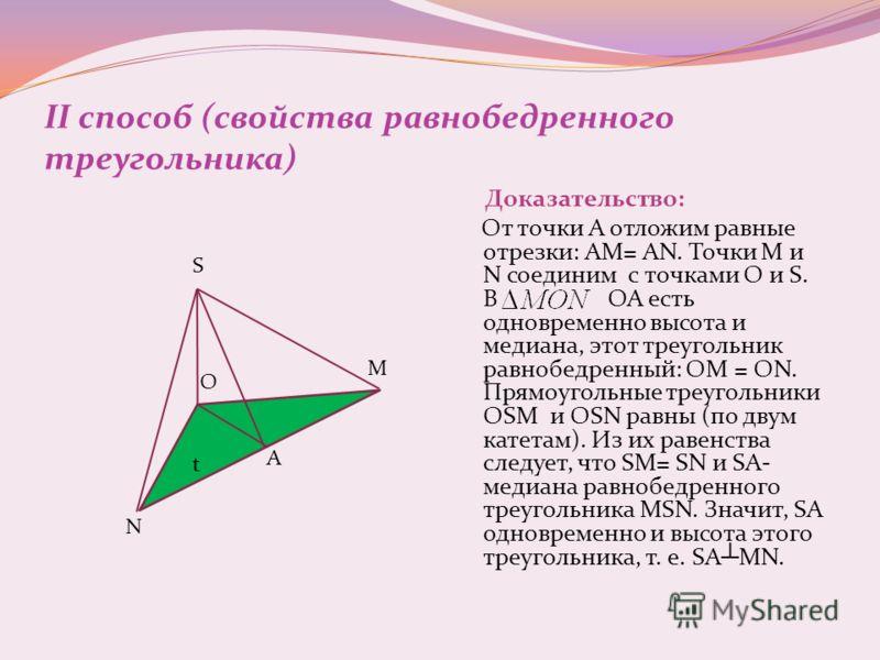 II способ (свойства равнобедренного треугольника) Доказательство: От точки А отложим равные отрезки: АМ= АN. Точки М и N соединим с точками O и S. В ОА есть одновременно высота и медиана, этот треугольник равнобедренный: ОМ = ОN. Прямоугольные треуго