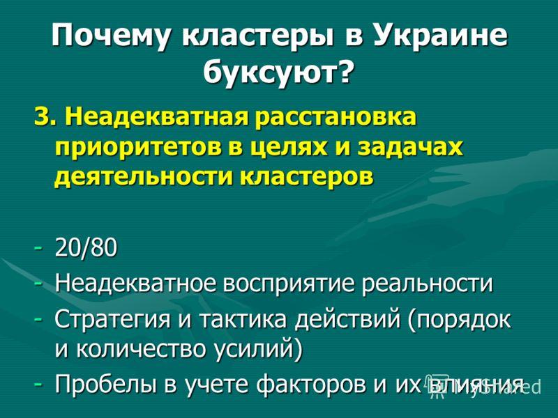 Почему кластеры в Украине буксуют? 3. Неадекватная расстановка приоритетов в целях и задачах деятельности кластеров -20/80 -Неадекватное восприятие реальности -Стратегия и тактика действий (порядок и количество усилий) -Пробелы в учете факторов и их