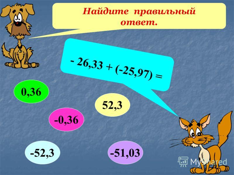 Найдите правильный ответ. - 26,33 + (-25,97) = 0,36 52,3 -51,03-52,3 -0,36