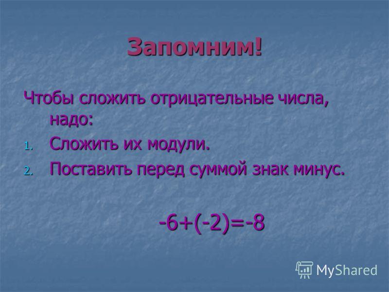 Запомним! Чтобы сложить отрицательные числа, надо: 1. Сложить их модули. 2. Поставить перед суммой знак минус. -6+(-2)=-8 -6+(-2)=-8