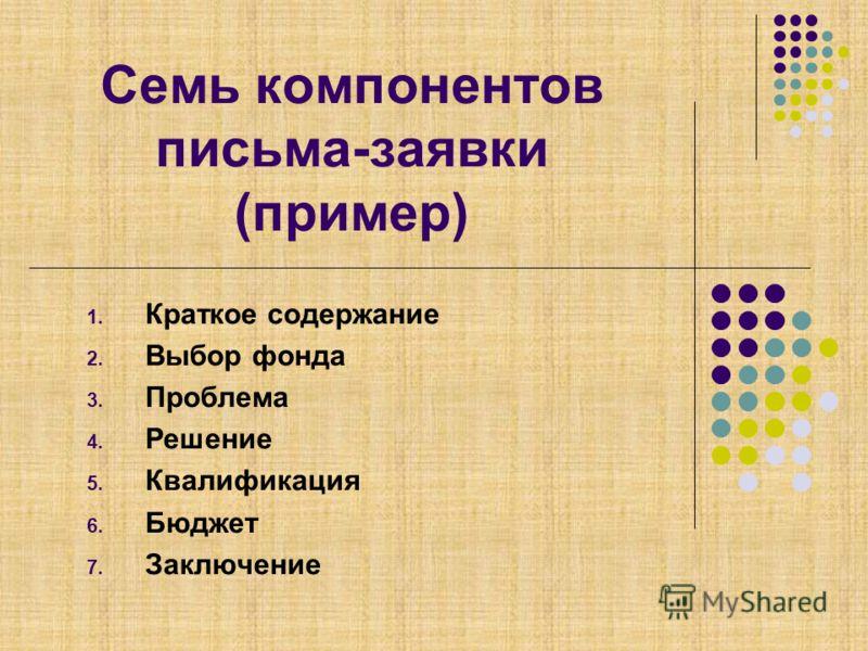 Семь компонентов письма-заявки (пример) 1. Краткое содержание 2. Выбор фонда 3. Проблема 4. Решение 5. Квалификация 6. Бюджет 7. Заключение
