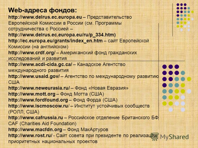 Web-адреса фондов: http://www.delrus.ec.europa.eu – Представительство Европейской Комиссии в России (см. Программы сотрудничества с Россией – http://www.delrus.ec.europa.eu/ru/p_334.htm) http://ec.europa.eu/grants/index_en.htm – сайт Европейской Коми