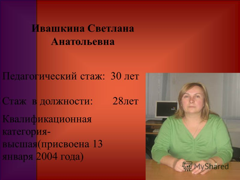 Ивашкина Светлана Анатольевна Педагогический стаж: 30 лет Стаж в должности: 28лет Квалификационная категория- высшая(присвоена 13 января 2004 года)