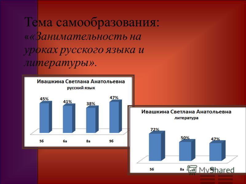 Тема самообразования: « «Занимательность на уроках русского языка и литературы».