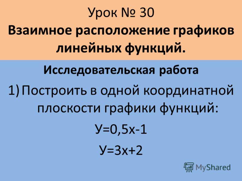 Урок 30 Взаимное расположение графиков линейных функций. Исследовательская работа 1)Построить в одной координатной плоскости графики функций: У=0,5х-1 У=3х+2