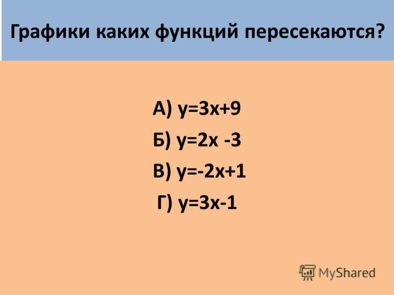 Графики каких функций пересекаются? А) у=3х+9 Б) у=2х -3 В) у=-2х+1 Г) у=3х-1