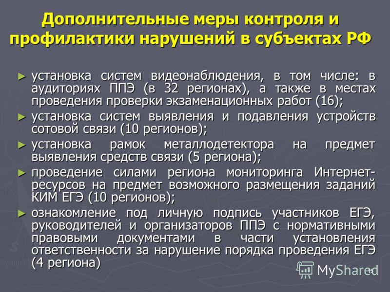 15 Дополнительные меры контроля и профилактики нарушений в субъектах РФ установка систем видеонаблюдения, в том числе: в аудиториях ППЭ (в 32 регионах), а также в местах проведения проверки экзаменационных работ (16); установка систем видеонаблюдения