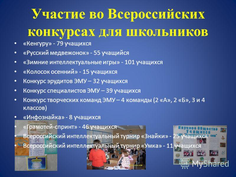 Участие во Всероссийских конкурсах для школьников «Кенгуру» - 79 учащихся «Русский медвежонок» - 55 учащийся «Зимние интеллектуальные игры» - 101 учащихся «Колосок осенний» - 15 учащихся Конкурс эрудитов ЭМУ – 32 учащихся Конкурс специалистов ЭМУ – 3