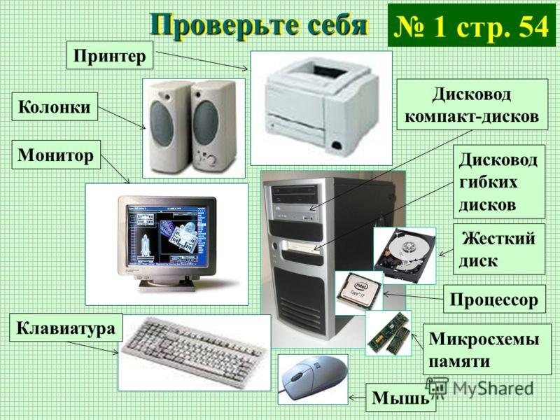 Проверьте себя ПринтерКолонкиМониторКлавиатураДисковод компакт-дисков Дисковод гибких дисков Жесткий диск ПроцессорМикросхемы памяти Мышь 1 стр. 54