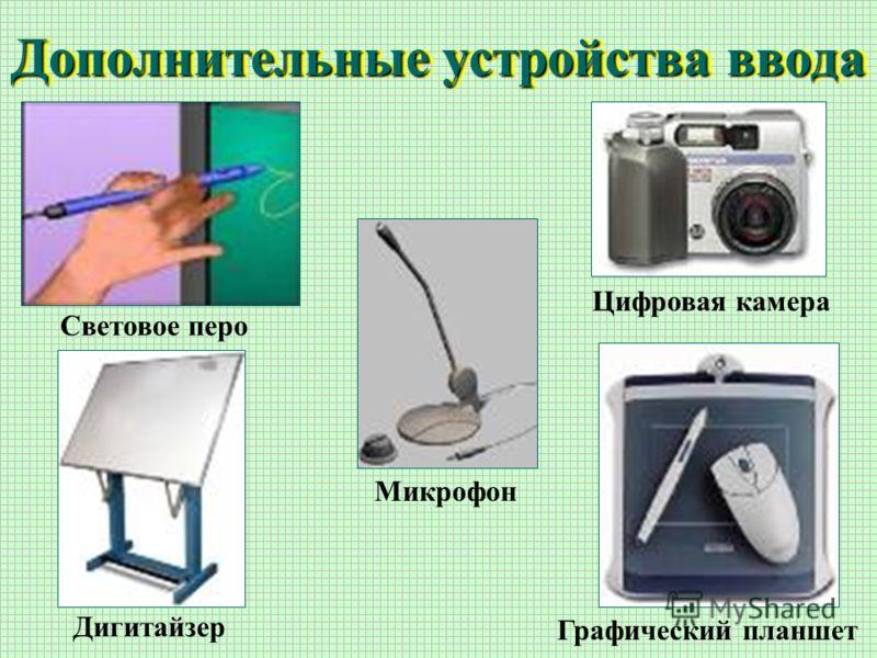 Дополнительные устройства ввода Световое перо Цифровая камера Микрофон Дигитайзер Графический планшет