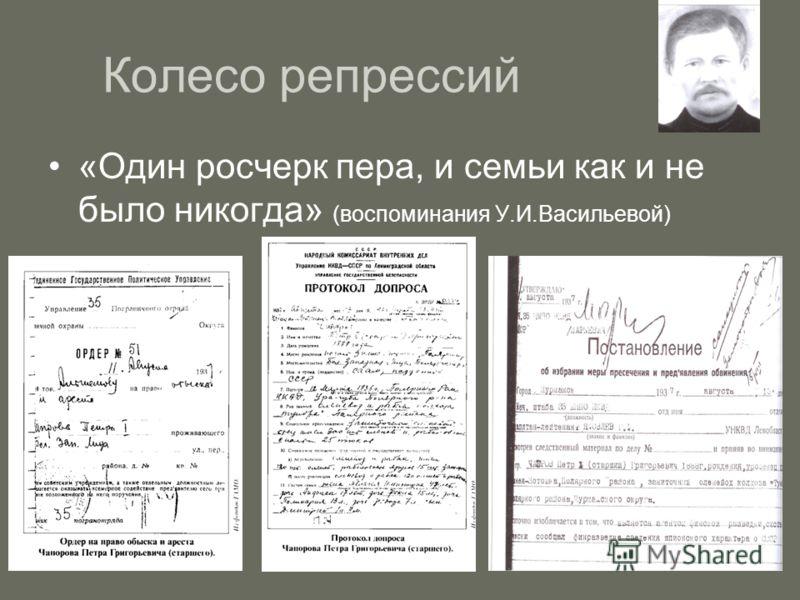 Колесо репрессий «Один росчерк пера, и семьи как и не было никогда» (воспоминания У.И.Васильевой)