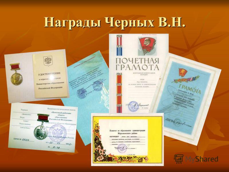 Награды Черных В.Н.