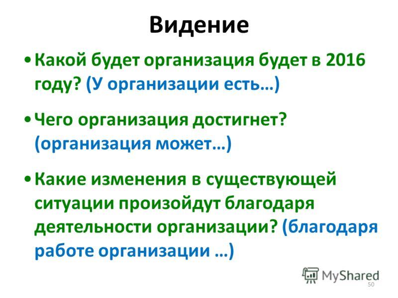 50 Видение Какой будет организация будет в 2016 году? (У организации есть…) Чего организация достигнет? (организация может…) Какие изменения в существующей ситуации произойдут благодаря деятельности организации? (благодаря работе организации …)