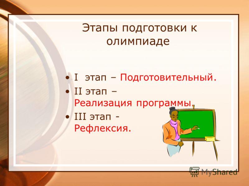 Этапы подготовки к олимпиаде I этап – Подготовительный. II этап – Реализация программы. III этап - Рефлексия.