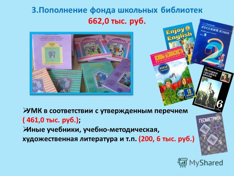 3.Пополнение фонда школьных библиотек 662,0 тыс. руб. УМК в соответствии с утвержденным перечнем ( 461,0 тыс. руб.); Иные учебники, учебно-методическая, художественная литература и т.п. (200, 6 тыс. руб.)
