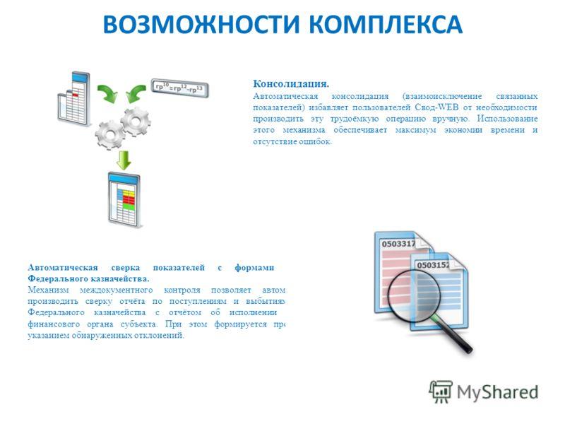 ВОЗМОЖНОСТИ КОМПЛЕКСА Консолидация. Автоматическая консолидация (взаимоисключение связанных показателей) избавляет пользователей Свод-WEB от необходимости производить эту трудоёмкую операцию вручную. Использование этого механизма обеспечивает максиму