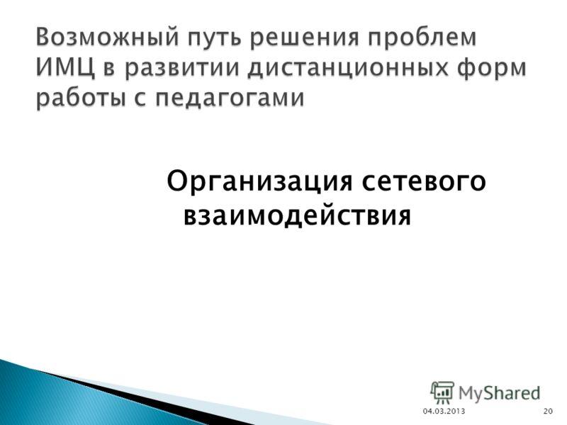 Организация сетевого взаимодействия 2004.03.2013