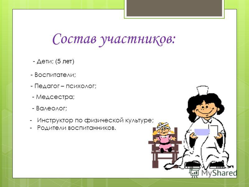 Состав участников: - Дети; (5 лет) - Воспитатели; - Педагог – психолог; - Медсестра; - Валеолог; - Инструктор по физической культуре; - Родители воспитанников.