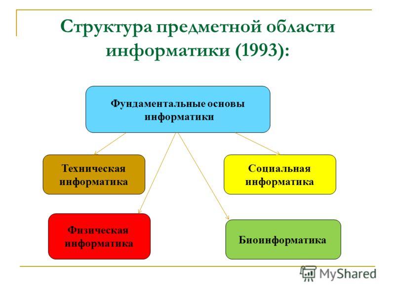 Структура предметной области информатики (1993): Фундаментальные основы информатики Социальная информатика Физическая информатика Биоинформатика Техническая информатика