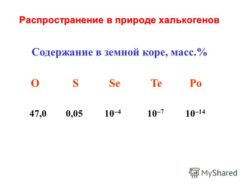 Содержание в земной коре, масс.% О S Se Te Po 47,0 0,05 10 –4 10 –7 10 –14 Распространение в природе халькогенов