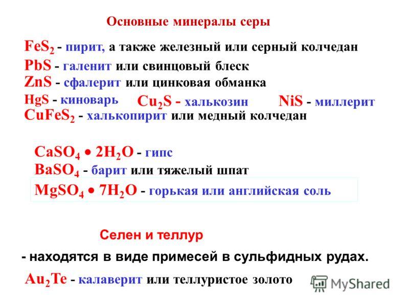 Селен и теллур - находятся в виде примесей в сульфидных рудах. CaSO 4 2H 2 O - гипс BaSO 4 - барит или тяжелый шпат MgSO 4 7H 2 O - горькая или английская соль Au 2 Te - калаверит или теллуристое золото FeS 2 - пирит, а также железный или серный колч