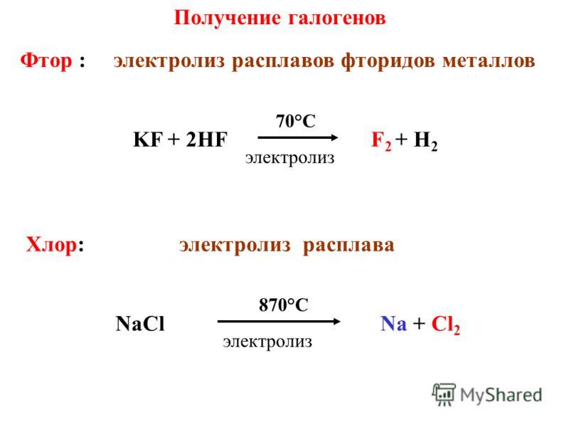 Получение галогенов Фтор : электролиз расплавов фторидов металлов KF + 2HF F 2 + H 2 70°C Хлор: электролиз расплава NaCl Na + Cl 2 870°С электролиз