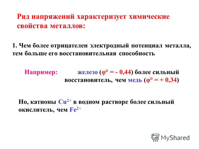 Ряд напряжений характеризует химические свойства металлов: 1. Чем более отрицателен электродный потенциал металла, тем больше его восстановительная способность Например: железо (φ° = - 0,44) более сильный восстановитель, чем медь (φ° = + 0,34) Но, ка