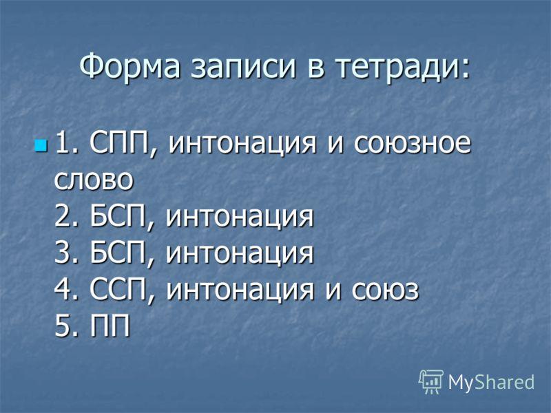 Форма записи в тетради: 1. СПП, интонация и союзное слово 2. БСП, интонация 3. БСП, интонация 4. ССП, интонация и союз 5. ПП 1. СПП, интонация и союзное слово 2. БСП, интонация 3. БСП, интонация 4. ССП, интонация и союз 5. ПП