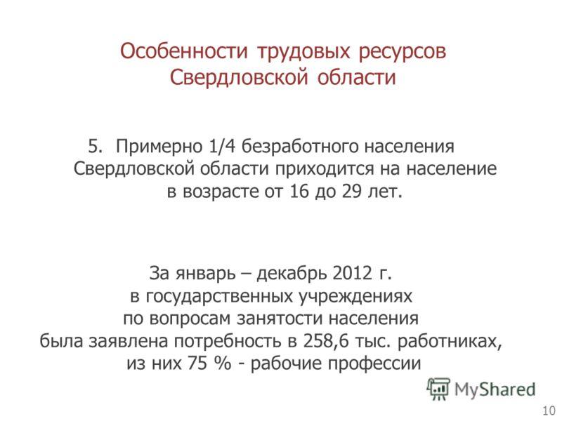 Особенности трудовых ресурсов Свердловской области 10 5.Примерно 1/4 безработного населения Свердловской области приходится на население в возрасте от 16 до 29 лет. За январь – декабрь 2012 г. в государственных учреждениях по вопросам занятости насел