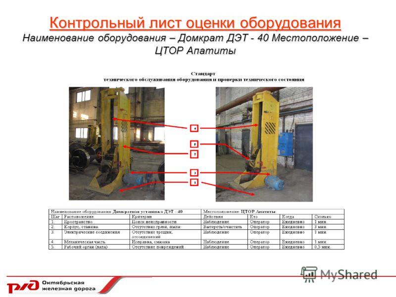 Контрольный лист оценки оборудования Наименование оборудования – Домкрат ДЭТ - 40 Местоположение – ЦТОР Апатиты