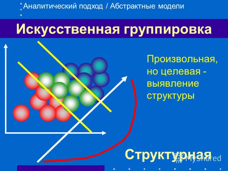 Естественная группировка Учитывает природные группировки объектов (кластеры) Аналитический подход / Абстрактные модели Типологическая