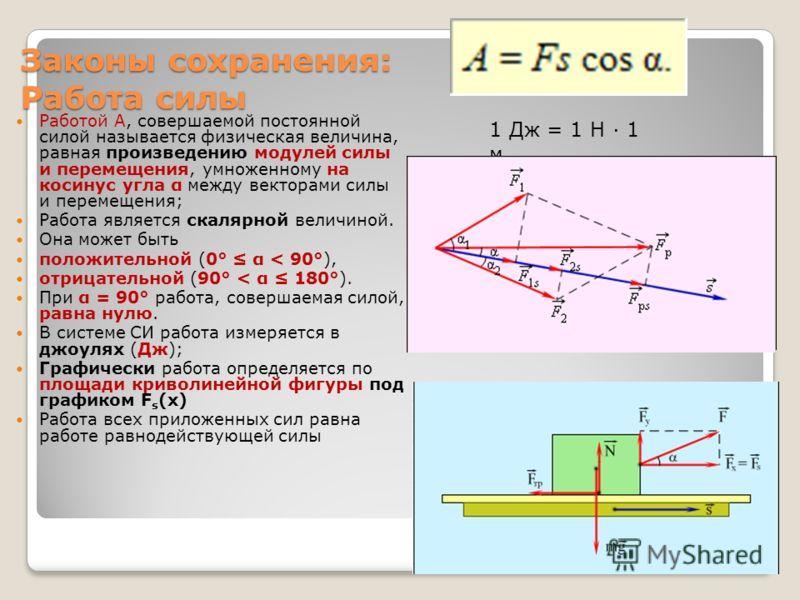 Законы сохранения: Работа силы Работой A, совершаемой постоянной силой называется физическая величина, равная произведению модулей силы и перемещения, умноженному на косинус угла α между векторами силы и перемещения; Работа является скалярной величин