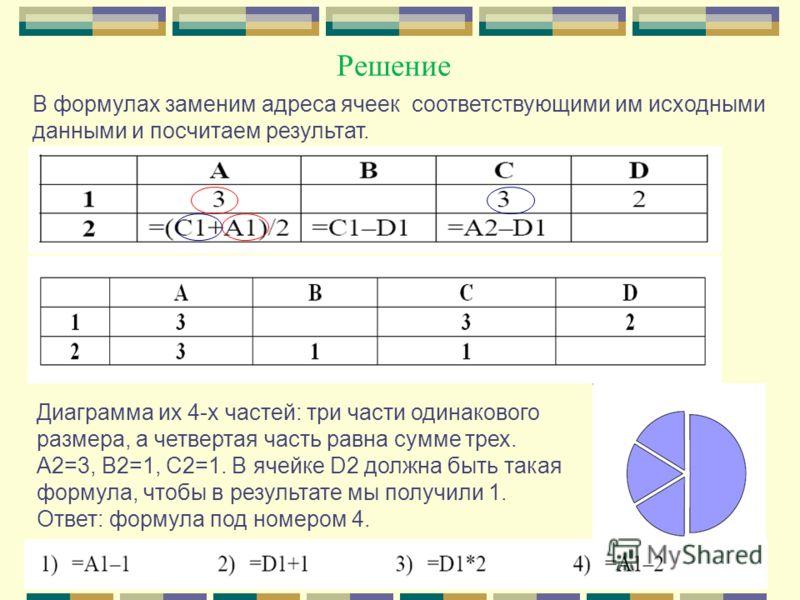 Решение В формулах заменим адреса ячеек соответствующими им исходными данными и посчитаем результат. Диаграмма их 4-х частей: три части одинакового размера, а четвертая часть равна сумме трех. А2=3, В2=1, С2=1. В ячейке D2 должна быть такая формула,