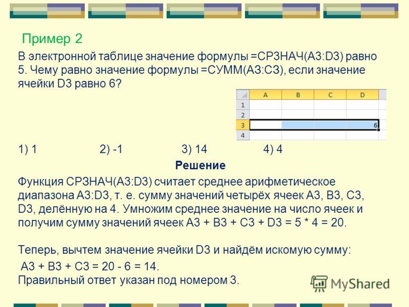 В электронной таблице значение формулы =CP3HAЧ(A3:D3) равно 5. Чему равно значение формулы =СУММ(АЗ:СЗ), если значение ячейки D3 равно 6? 1) 12) -13) 144) 4 Решение Функция СРЗНАЧ(A3:D3) считает среднее арифметическое диапазона A3:D3, т. е. сумму зна