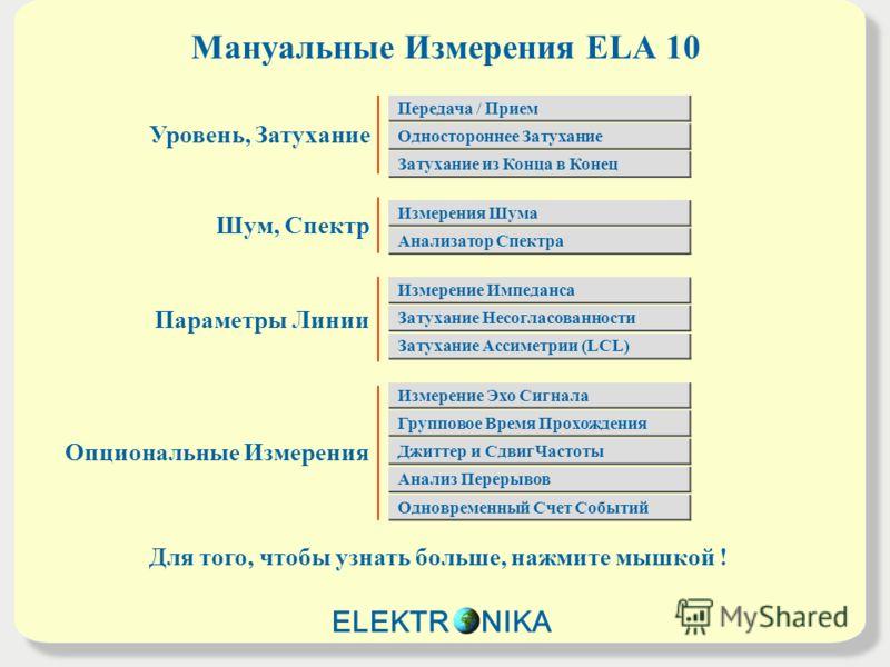 Мануальные Измерения ELA 10 Для того, чтобы узнать больше, нажмите мышкой ! Уровень, Затухание Шум, Спектр Параметры Линии Опциональные Измерения Передача / Прием Одностороннее Затухание Затухание из Конца в Конец Измерения Шума Анализатор Спектра За