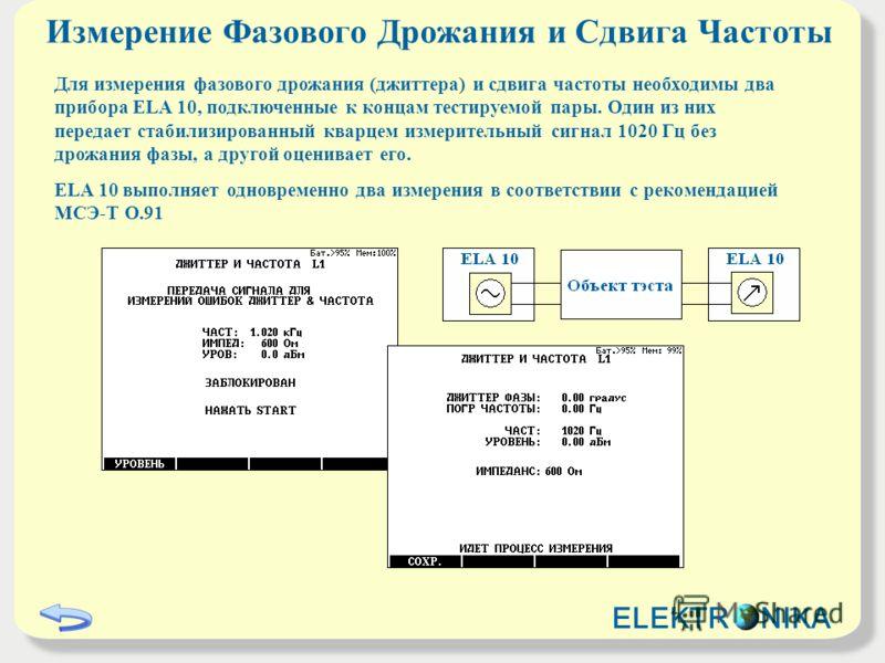 Измерение Фазового Дрожания и Сдвига Частоты Для измерения фазового дрожания (джиттера) и сдвига частоты необходимы два прибора ELA 10, подключенные к концам тестируемой пары. Один из них передает стабилизированный кварцем измерительный сигнал 1020 Г