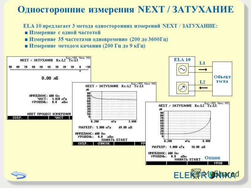Односторонние измерения NEXT / ЗАТУХАНИЕ ELA 10 предлагает 3 метода односторонних измерений NEXT / ЗАТУХАНИЕ: Измерение с одной частотой Измерение 35 частотами одновременно (200 до 3600Гц) Измерение методом качания (200 Гц до 9 кГц) Опции ELEKTR NIKA