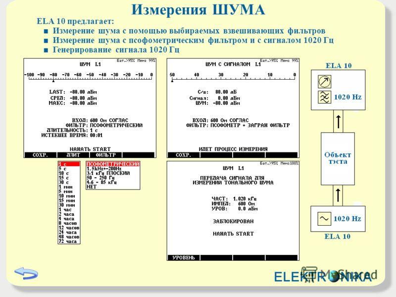 Измерения ШУМА ELA 10 предлагает: Измерение шума с помощью выбираемых взвешивающих фильтров Измерение шума с псофометрическим фильтром и с сигналом 1020 Гц Генерирование сигнала 1020 Гц ELEKTR NIKA